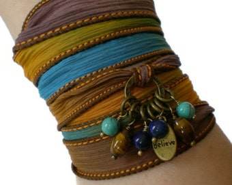 silk ribbon wrap bracelet, believe charm wrap, boho wrist wrap, yoga inspired jewelry, blue brown gemstone wrap, beach wear, festival wear