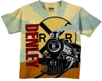 Boys Train Shirt, Personalized Birthday Steam Engine T-Shirt, Top