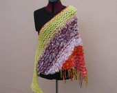 Knit Wrap In Yellow and Orange--It's a Fiesta! Knit Wrap