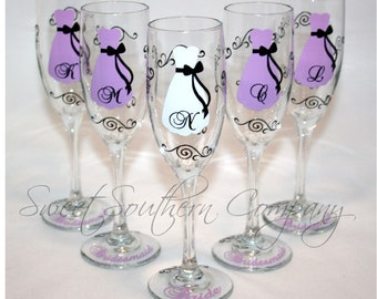 7 Personalized Bride and Bridesmaid Champagne Flutes