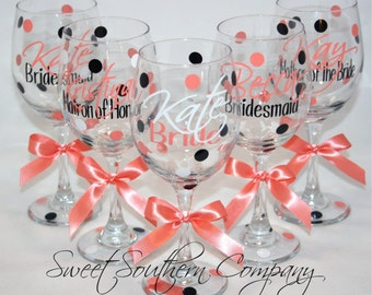 5 Personalized Bride and Bridesmaids Polka Dot Wine Glasses