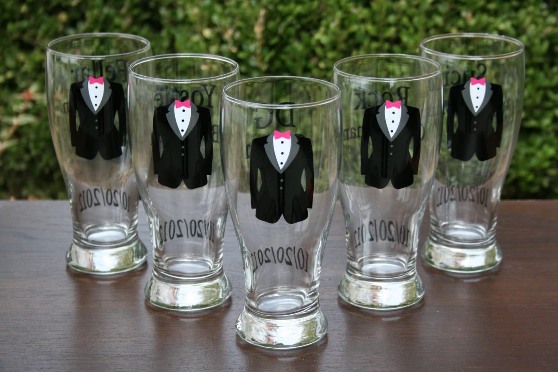 Wedding Party Gifts Groomsmen : Personalized Groom and Groomsmen Beer Pilsners Wedding