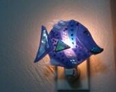 SALE, Blue Fish Glass Night Light, Fish Lips Glass Night Light, Children's Nighlight