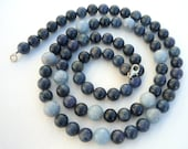 Dumortierite  and Angelite semiprecious stones,  long necklace.