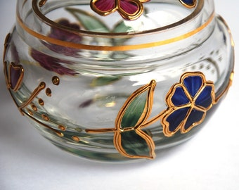 Charming Vintage Glass Box Container / Jewellery box / sweets Box / trinket Box - hand painted - gold / enamel