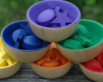 Montessori Inspired Sorting Bowls Wooden Rainbow Sensory Toy (Bowls Only)