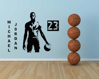 Michael jordan nba college decal sticker vinyl wall home kid 39 s bedroom dorm decor - Michael jordan bedroom decor ...