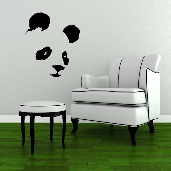 Panda bear panda decal panda wall decal by vinylwalladornments for Panda bear decor