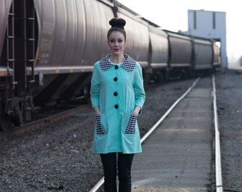 Marilyn Jacket - Button Closure, Three-quarter length sleeves, Patch Pockets, Peter Pan Collar, Zebra, Mint, Seafoam Green, Plaid, Black