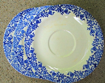 Lot of 3 Matching Vintage Saucer Plates Blue on White Pattern