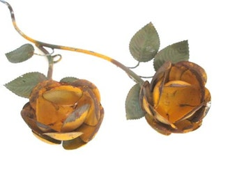 Flower Metal Art Sculpture Garden Wall Hanging Yellow Roses Rusty Shabby Chic