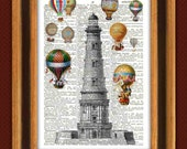 Hot Air Balloons around lighthouse, Ballooning over the sea, Dictionary art prints. Ballooning Fantasy collage, decorative arts prints