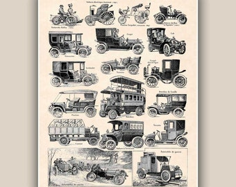 Old cars collectiont Large Print  Vintage illustrations 11x14 Size Wall art decor home decor, decorative arts, wall hangings, gift for him