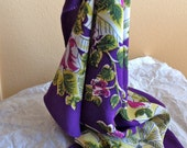 1940s Scarf Vintage Rayon Purple Background Yellow White Green Fuchsia Blossoms and Bows