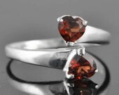 Garnet ring, sterling silver ring, gemstone ring, red, heart, january birthstone, adjustable ring