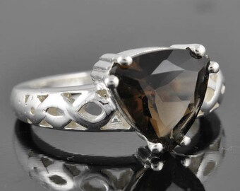 Smoky quartz ring, 4 ct, sterling silver ring, gemstone ring, brown, solitaire, birthstone, chunky ring, statement, engagement ring, wedding