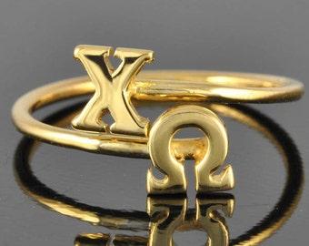 Chi Omega gold ring, Chi Omega ring, gold ring, adjustable ring, greek letter ring, chi, omega