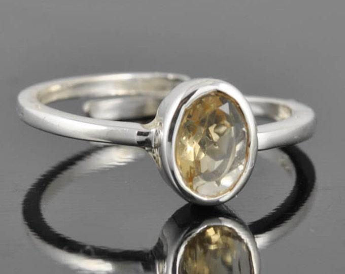 Citrine ring, sterling silver ring, oval ring, gemstone ring, bezel ring