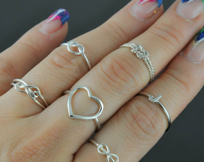 Knuckle ring, personalized ring, infinity knot ring, infinity ring, sterling silver ring, stacking ring, wedding band, best friends ring