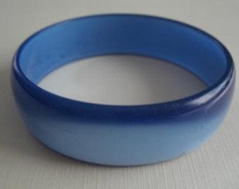 Blue Bangle - Plastic with a Moonstone Glow Appearance - Vintage 1980s Bangle Bracelet