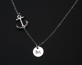 Sideways Anchor Necklace,Hope Anchor Necklace,hand stamped custom initial necklace,Sailors Anchor,Wedding Jewelry,Bridesmaid gifts,strength