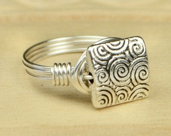 Sale! Wire Wrapped Ring- Sterling Silver Filled Wire with Square Whirl Bead - Any Size - Size 4, 5, 6, 7, 8, 9, 10, 11, 12, 13, 14