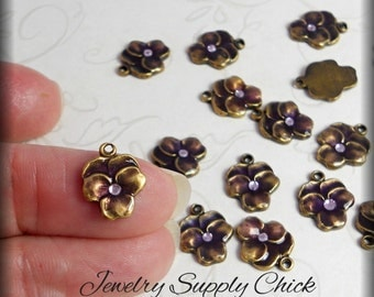Purple pansy enameled charms (x6)