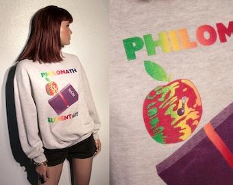 25% OFF SALE // vintage elementary school sweatshirt // rainbow type