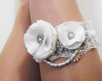 Ivory Wedding Garter - Silk and Lace with Roses Diamante and Pearls