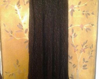 Long black sheer lace dress with ruffled hem