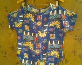 80s bold print blouse / t-shirt