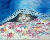 Original Oil Painting 8 x 10 Inches Unframed Peek A Boo Cat by Peggy Marlow