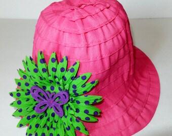Pink Toddler Summer Sun Hat, Butterfly Garden Beach Hat, Pink Green and Purple, Girl's Hat