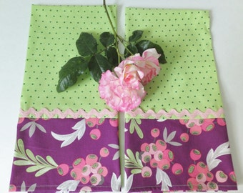 Purple and Pink Berry With  Green Polka Dot Tea Towels ~ Set of 2