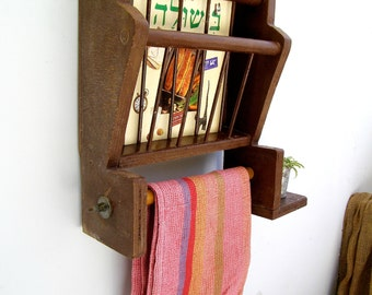 Rustic Wood Kitchen Rack, Retro Kitchen Display, Brown Shelf Unit, Compartments Shelving, Cottage chic, Towel Rack, Folk Art