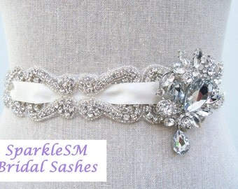 Crystal Bridal Sash, Rhinestone Sash, Wedding Sash, Crystal Belt, Jeweled Sash, Bridal Belt, Ribbon Bridal Sash Brooch Sash Bridesmaids Sash