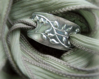 Budding Vine- Yoga Jewelry, Silver & Silk Wrap Bracelet- Artisan Crafted Recycled Fine Silver