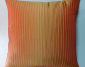 Stock Clearance. Handmade 16 inch cushion cover in bright orange shiny polyester.