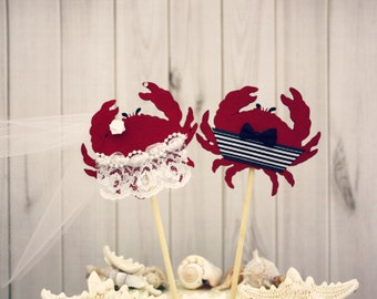 Crab Wedding cake topper-Beach themed wedding-Wedding Cake Topper-crab lover-destination wedding-nautical wedding-ocean-beach wedding