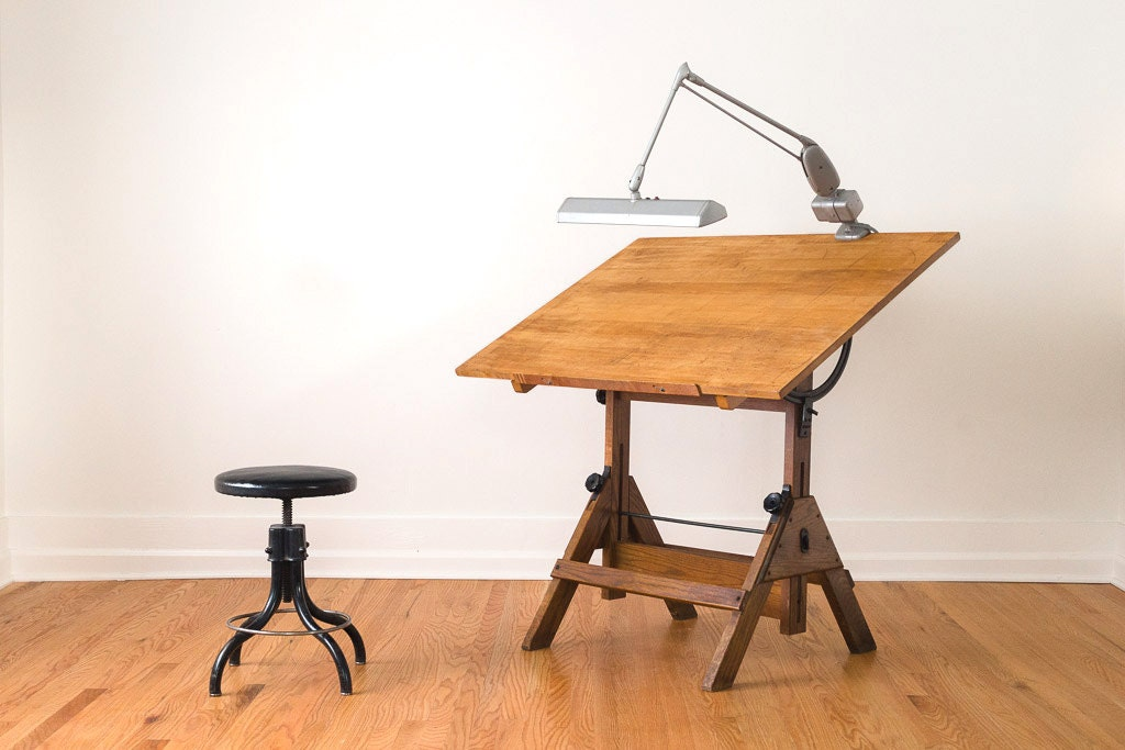 Vintage Industrial Hamilton Drafting Table With Iron Hardware