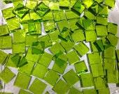 "100 1/4"" Tiny Tiles - GREEN LIME COOLADA Transparent Glass Mosaic T9"
