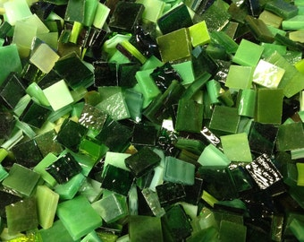 "100  ""MIXED GREENS"" ODD Size  - Stained Glass Mosaic Tile Supply B33"
