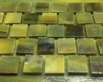 """SEA GREEN, FOREST Green, Dark Green Stained Glass Supply 1/2"""" Tiles X2"""