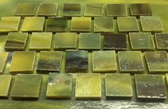 "SEA GREEN, FOREST Green, Dark Green Stained Glass Supply (1/2"" Tiles)"
