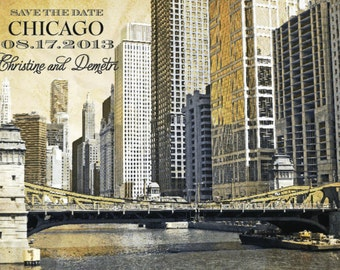 Chicago Save the Date (Chicago River at LaSalle) - RESERVED LISTING