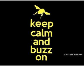 Beekeeper  Decal - Keep Calm and Buzz On - Honey Bee Decal - Car Sticker - Beekeeper Bumper Sticker - We love bees