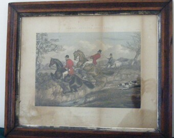 Authentic Framed Antique English Hunting Scene Print by Alken, Fore Publisher