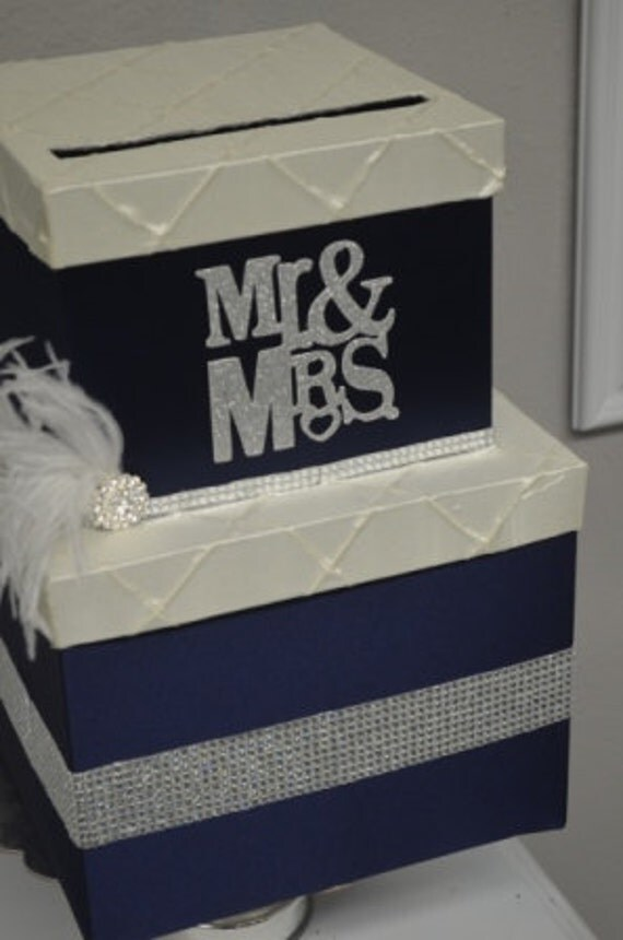 Navy Gift Box Glitter Mr And Mrs Navy Wedding By