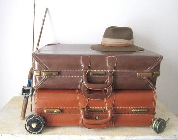 Vintage Luggage Suitcase Old Luggage Large Leather Luggage