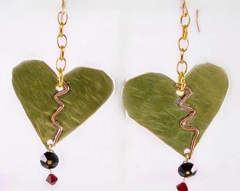 Mixed Metal Broken Heart Earrings, Bleeding Heart, Love Hurts,  Valentine Gift